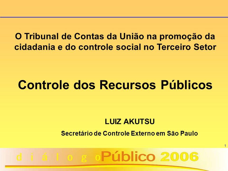 1 Controle dos Recursos Públicos LUIZ AKUTSU Secretário de Controle Externo em São Paulo O Tribunal de Contas da União na promoção da cidadania e do c