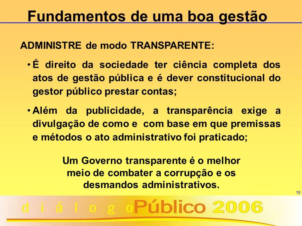 18 ADMINISTRE de modo TRANSPARENTE: É direito da sociedade ter ciência completa dos atos de gestão pública e é dever constitucional do gestor público