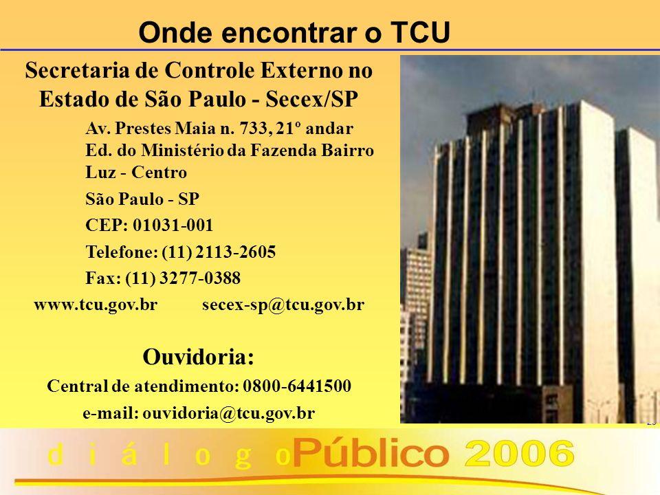 23 Onde encontrar o TCU Secretaria de Controle Externo no Estado de São Paulo - Secex/SP Av. Prestes Maia n. 733, 21º andar Ed. do Ministério da Fazen