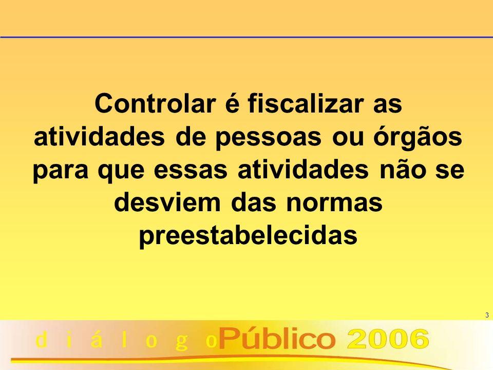 3 Controlar é fiscalizar as atividades de pessoas ou órgãos para que essas atividades não se desviem das normas preestabelecidas
