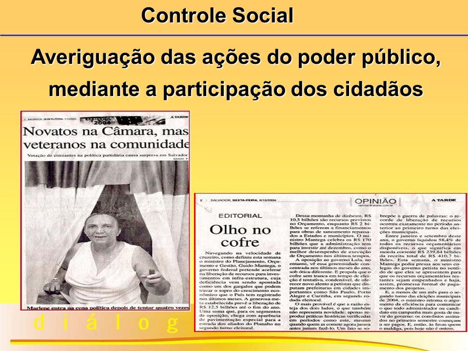 9 Averiguação das ações do poder público, mediante a participação dos cidadãos Controle Social