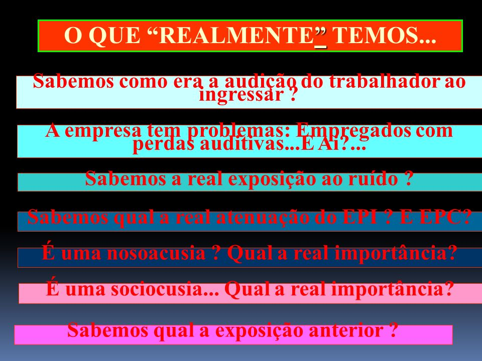 AUDITORIA Controle médico = Audiometria/ Espirometrias Dados das avaliações = levantamento ambiental.