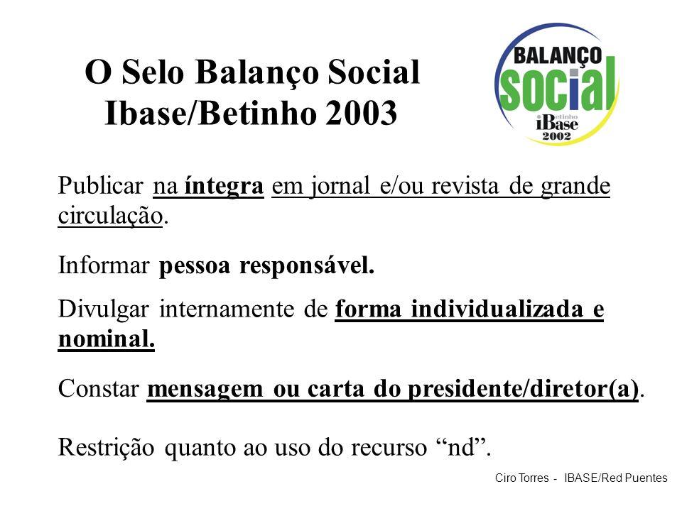 O Selo Balanço Social Ibase/Betinho 2003 Publicar na íntegra em jornal e/ou revista de grande circulação. Restrição quanto ao uso do recurso nd. Infor