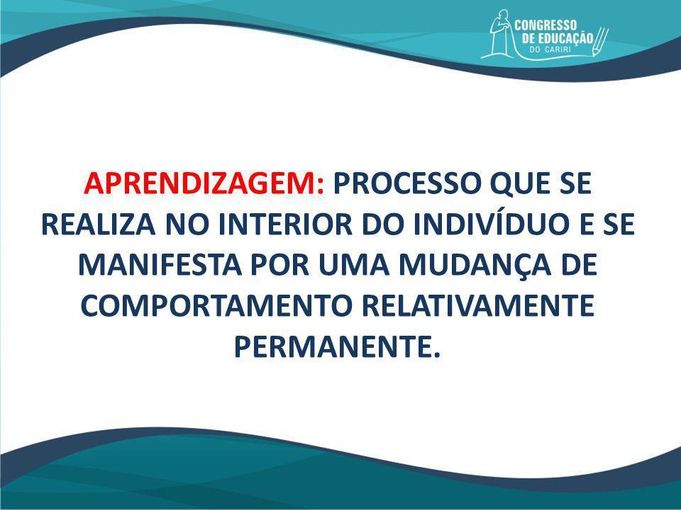 Três características do bom aprender: a) Uma mudança duradoura; b) E transferível para novas situações; c) Como consequência direta da prática realizada.