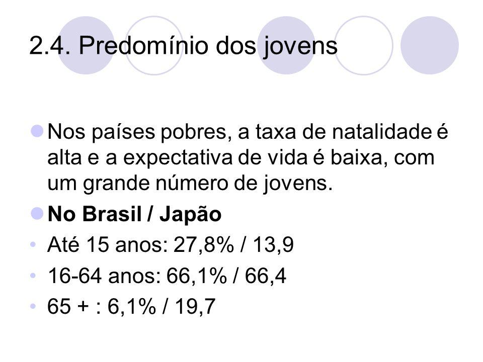 2.4. Predomínio dos jovens Nos países pobres, a taxa de natalidade é alta e a expectativa de vida é baixa, com um grande número de jovens. No Brasil /