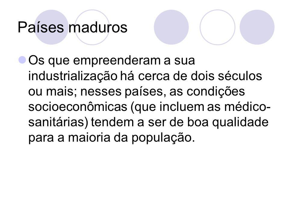 Países maduros Os que empreenderam a sua industrialização há cerca de dois séculos ou mais; nesses países, as condições socioeconômicas (que incluem as médico- sanitárias) tendem a ser de boa qualidade para a maioria da população.