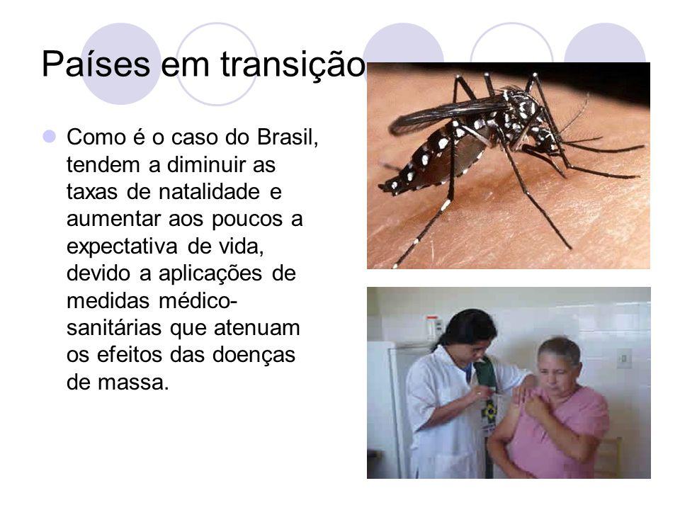 Países em transição Como é o caso do Brasil, tendem a diminuir as taxas de natalidade e aumentar aos poucos a expectativa de vida, devido a aplicações de medidas médico- sanitárias que atenuam os efeitos das doenças de massa.