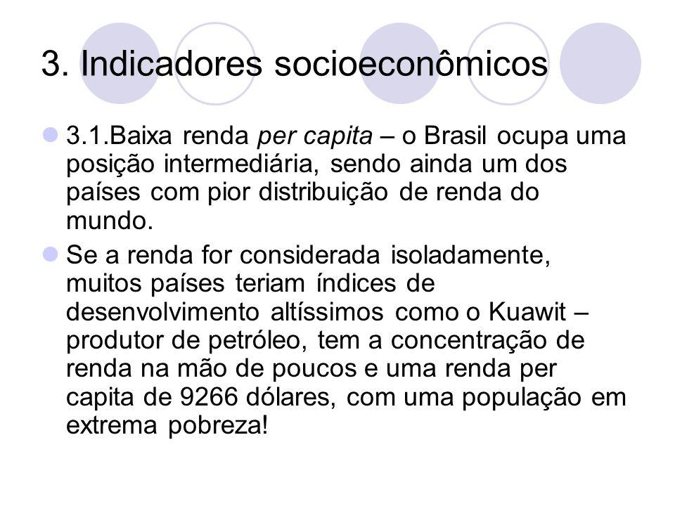 3. Indicadores socioeconômicos 3.1.Baixa renda per capita – o Brasil ocupa uma posição intermediária, sendo ainda um dos países com pior distribuição
