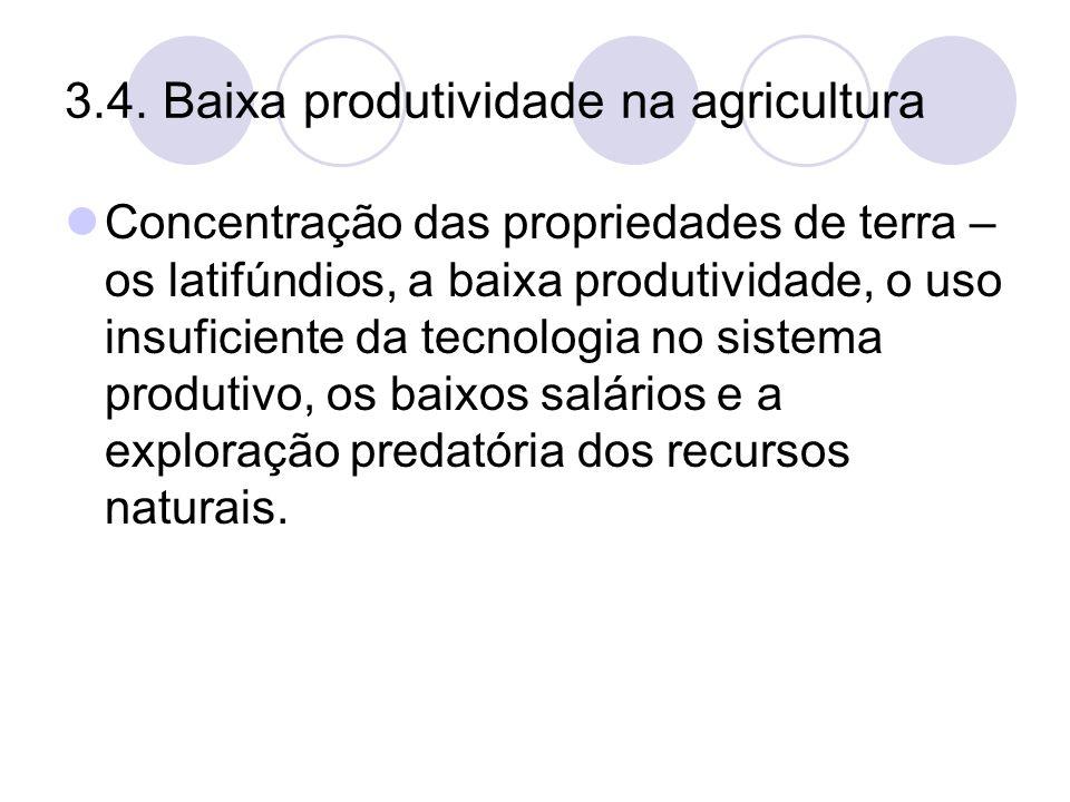 3.4. Baixa produtividade na agricultura Concentração das propriedades de terra – os latifúndios, a baixa produtividade, o uso insuficiente da tecnolog