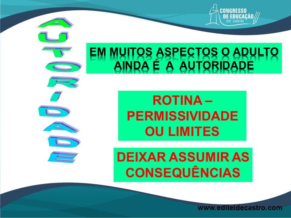 ROTINA – PERMISSIVIDADE OU LIMITES DEIXAR ASSUMIR AS CONSEQUÊNCIAS www.edileidecastro.com