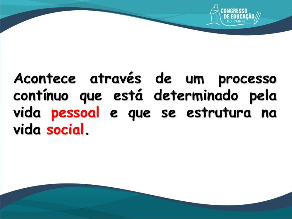Acontece através de um processo contínuo que está determinado pela vida pessoal e que se estrutura na vida social.