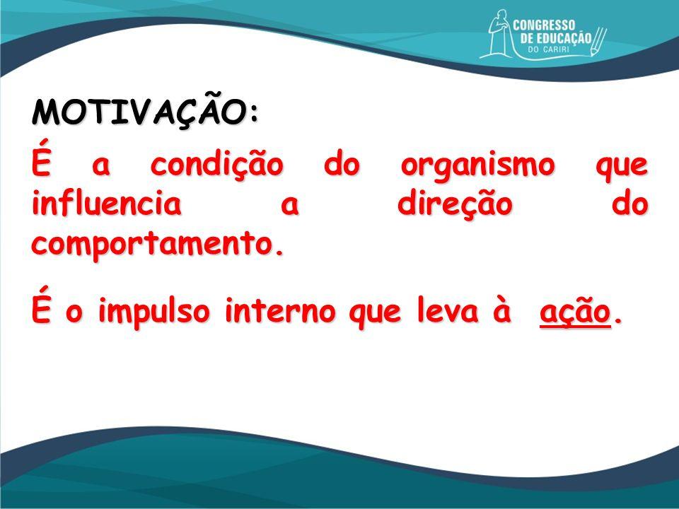 MOTIVAÇÃO: É a condição do organismo que influencia a direção do comportamento. É o impulso interno que leva à ação.