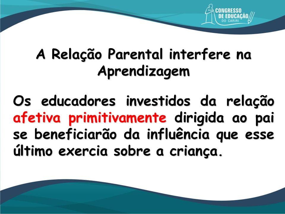 A Relação Parental interfere na Aprendizagem Os educadores investidos da relação afetiva primitivamente dirigida ao pai se beneficiarão da influência
