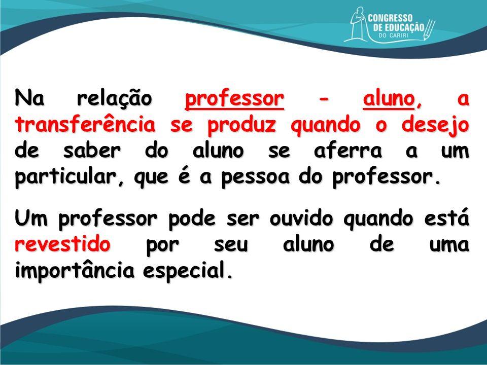 Na relação professor - aluno, a transferência se produz quando o desejo de saber do aluno se aferra a um particular, que é a pessoa do professor. Um p