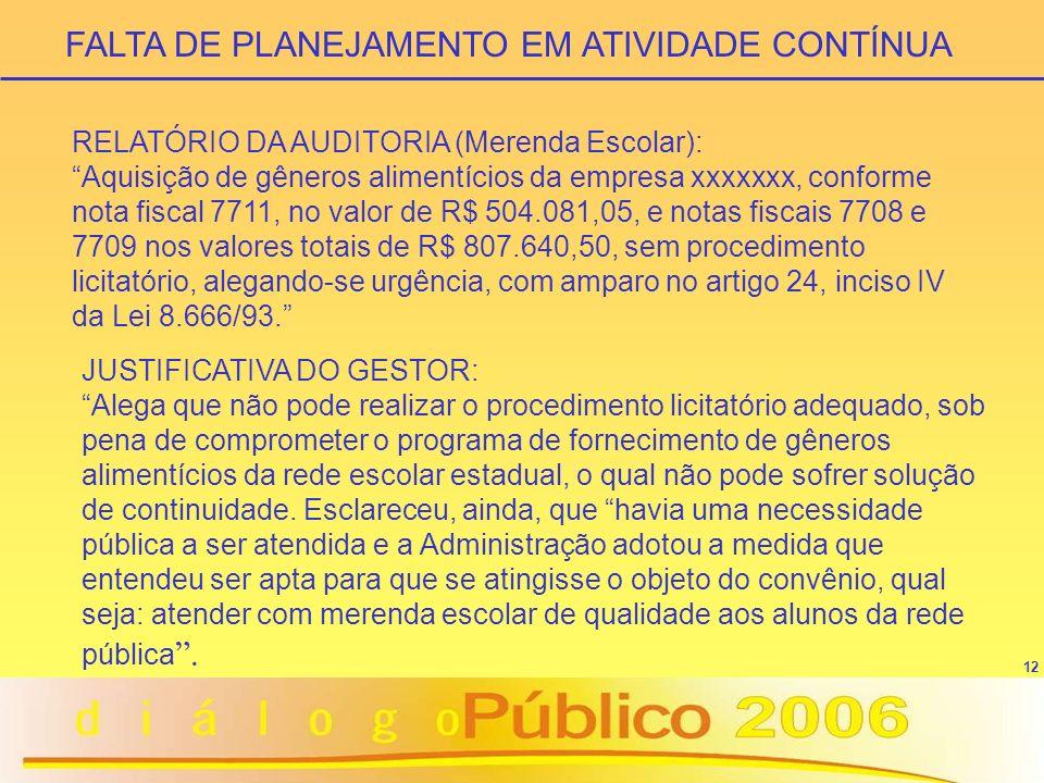 12 RELATÓRIO DA AUDITORIA (Merenda Escolar): Aquisição de gêneros alimentícios da empresa xxxxxxx, conforme nota fiscal 7711, no valor de R$ 504.081,0
