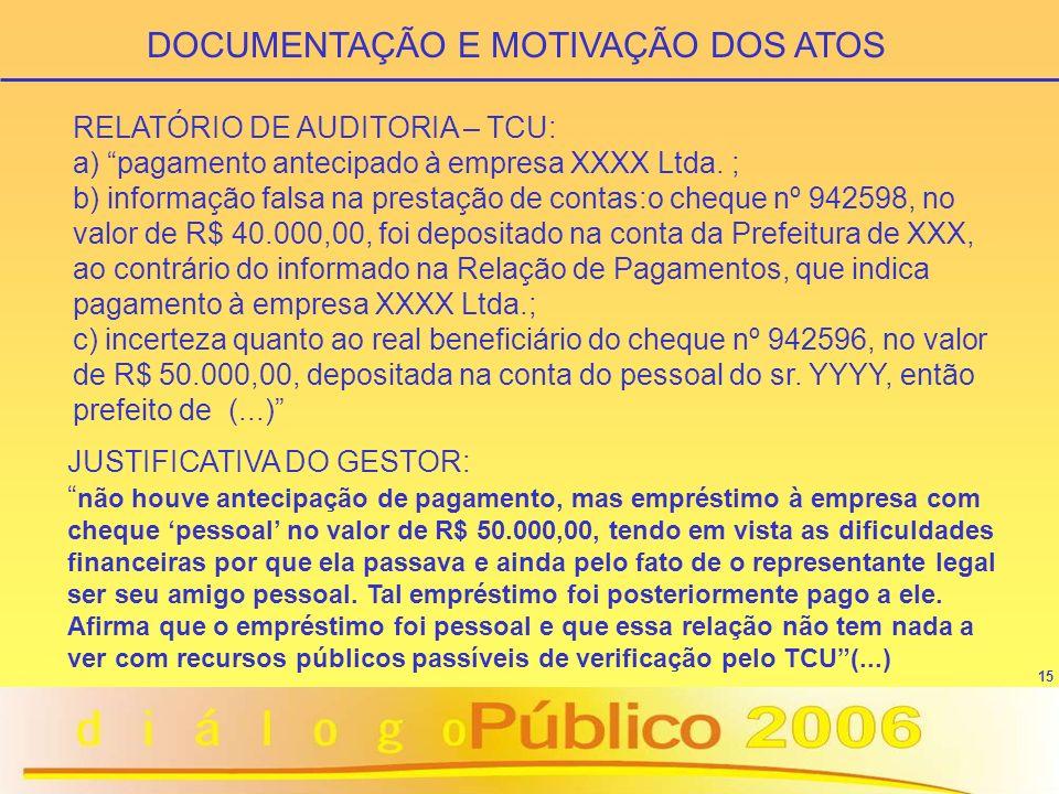 15 RELATÓRIO DE AUDITORIA – TCU: a) pagamento antecipado à empresa XXXX Ltda. ; b) informação falsa na prestação de contas:o cheque nº 942598, no valo