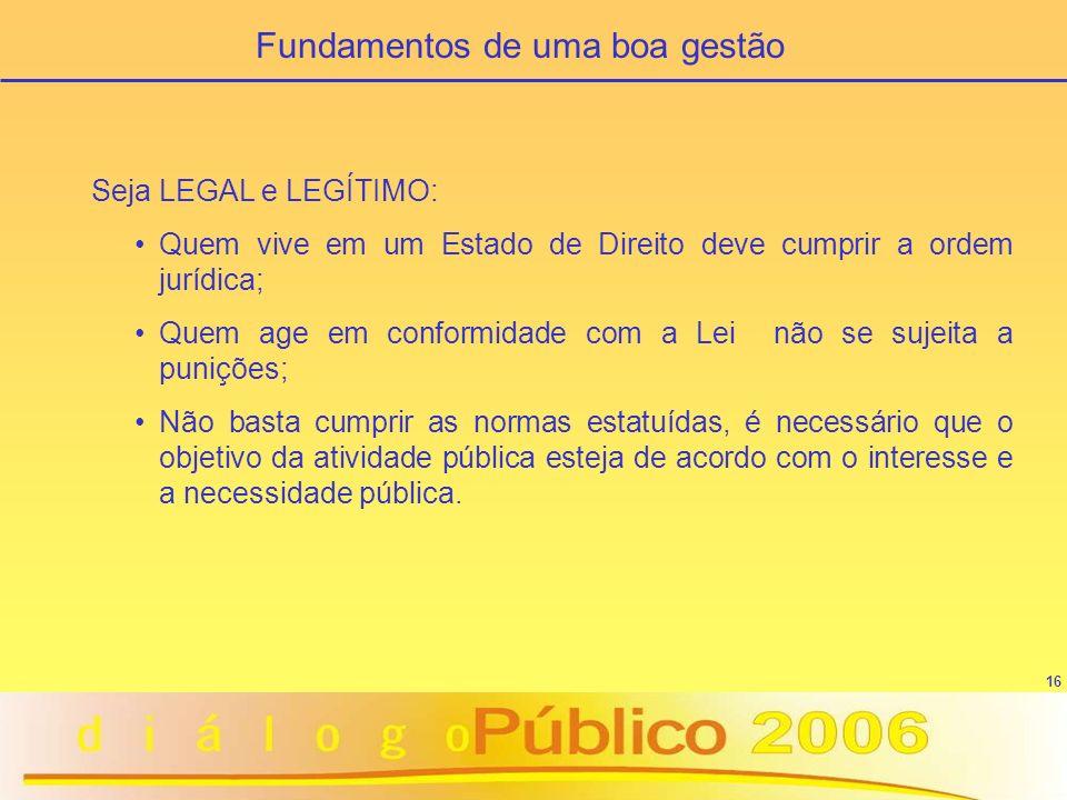 16 Seja LEGAL e LEGÍTIMO: Quem vive em um Estado de Direito deve cumprir a ordem jurídica; Quem age em conformidade com a Lei não se sujeita a puniçõe