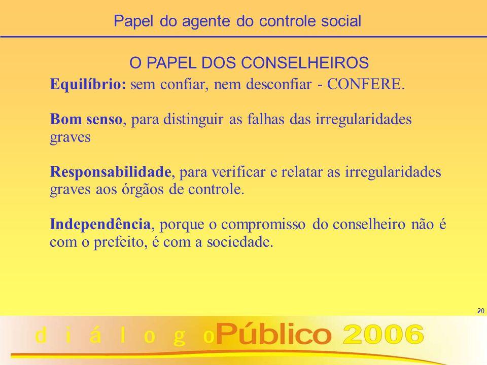 20 O PAPEL DOS CONSELHEIROS Equilíbrio: sem confiar, nem desconfiar - CONFERE. Bom senso, para distinguir as falhas das irregularidades graves Respons