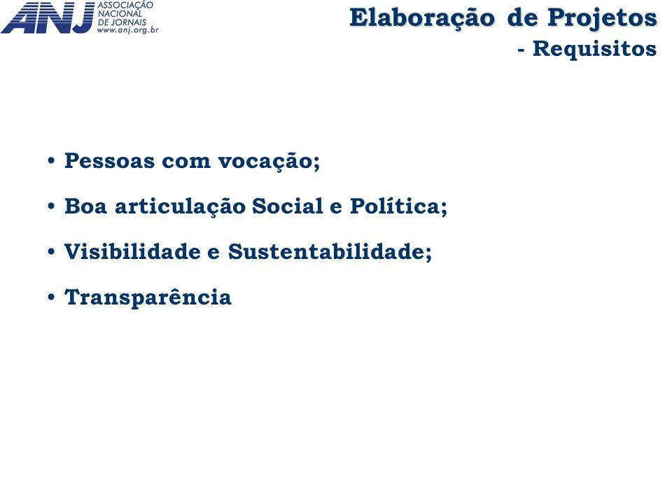 Pessoas com vocação; Boa articulação Social e Política; Visibilidade e Sustentabilidade; Transparência Elaboração de Projetos - Requisitos