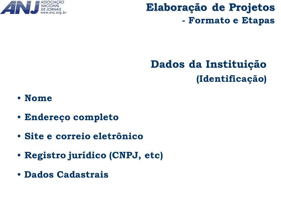 Dados da Instituição (Identificação) Nome Endereço completo Site e correio eletrônico Registro jurídico (CNPJ, etc) Dados Cadastrais Elaboração de Pro