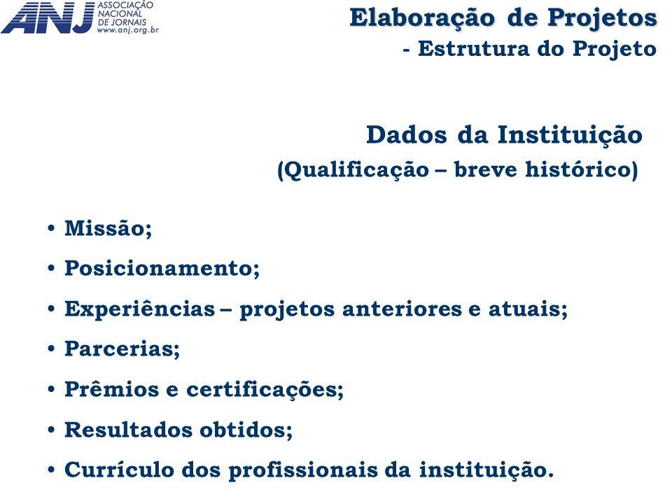 Dados da Instituição (Qualificação – breve histórico) Missão; Posicionamento; Experiências – projetos anteriores e atuais; Parcerias; Prêmios e certif
