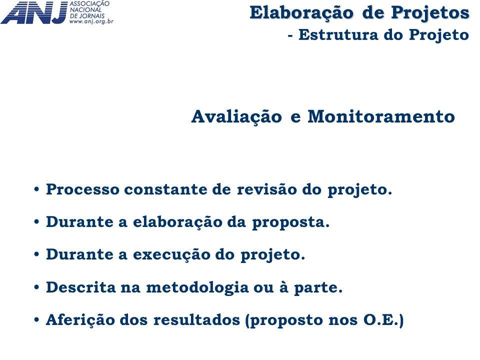 Avaliação e Monitoramento Processo constante de revisão do projeto. Durante a elaboração da proposta. Durante a execução do projeto. Descrita na metod