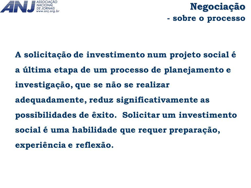 A solicitação de investimento num projeto social é a última etapa de um processo de planejamento e investigação, que se não se realizar adequadamente,
