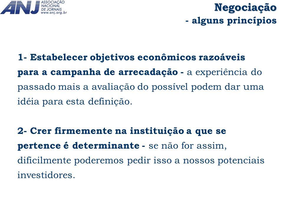 1- Estabelecer objetivos econômicos razoáveis para a campanha de arrecadação - a experiência do passado mais a avaliação do possível podem dar uma idé
