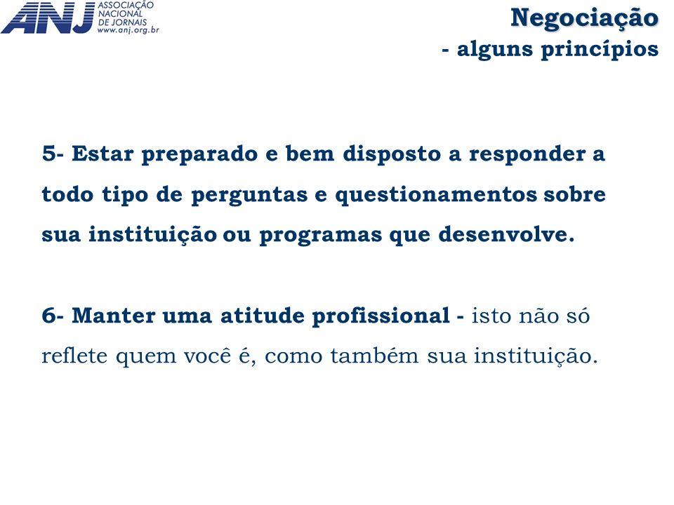 5- Estar preparado e bem disposto a responder a todo tipo de perguntas e questionamentos sobre sua instituição ou programas que desenvolve. 6- Manter