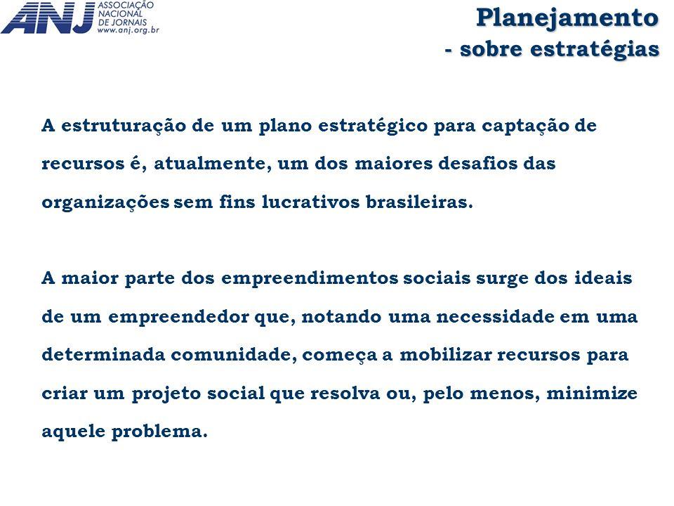 A estruturação de um plano estratégico para captação de recursos é, atualmente, um dos maiores desafios das organizações sem fins lucrativos brasileir