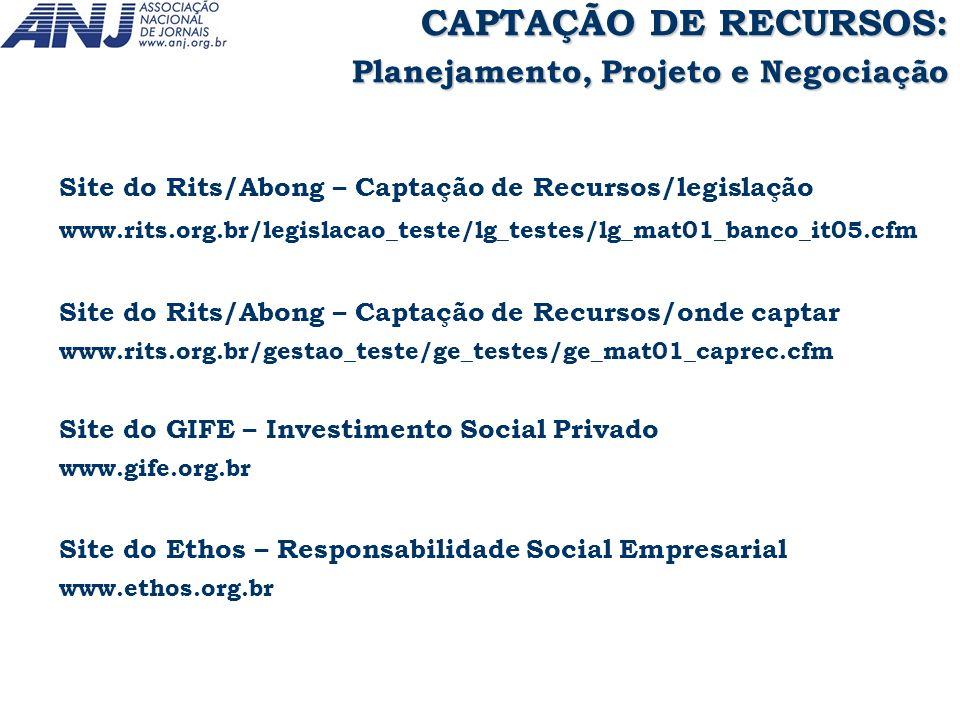 Site do Rits/Abong – Captação de Recursos/legislação www.rits.org.br/legislacao_teste/lg_testes/lg_mat01_banco_it05.cfm Site do Rits/Abong – Captação