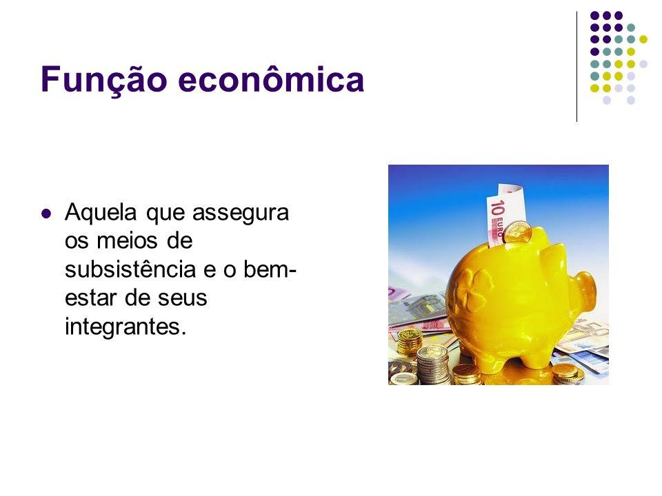 Função econômica Aquela que assegura os meios de subsistência e o bem- estar de seus integrantes.