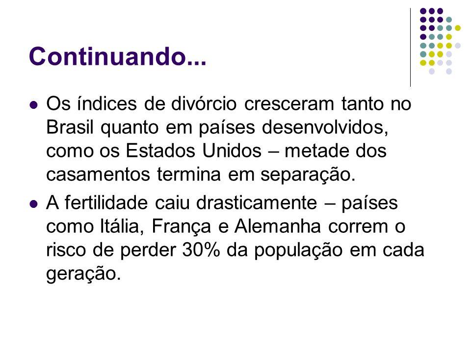 Continuando... Os índices de divórcio cresceram tanto no Brasil quanto em países desenvolvidos, como os Estados Unidos – metade dos casamentos termina
