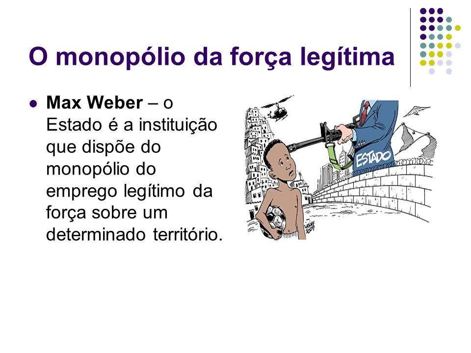 O monopólio da força legítima Max Weber – o Estado é a instituição que dispõe do monopólio do emprego legítimo da força sobre um determinado territóri