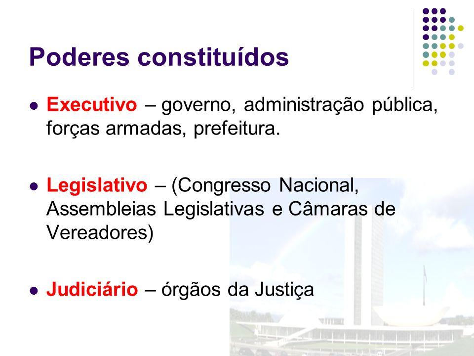 Poderes constituídos Executivo – governo, administração pública, forças armadas, prefeitura. Legislativo – (Congresso Nacional, Assembleias Legislativ