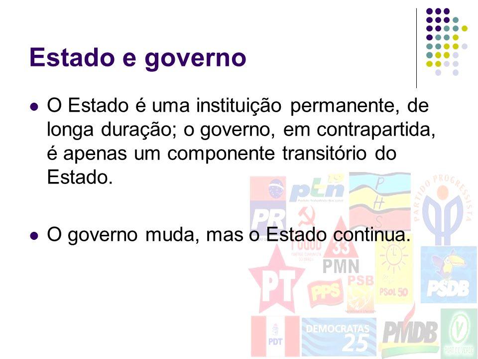 Estado e governo O Estado é uma instituição permanente, de longa duração; o governo, em contrapartida, é apenas um componente transitório do Estado. O