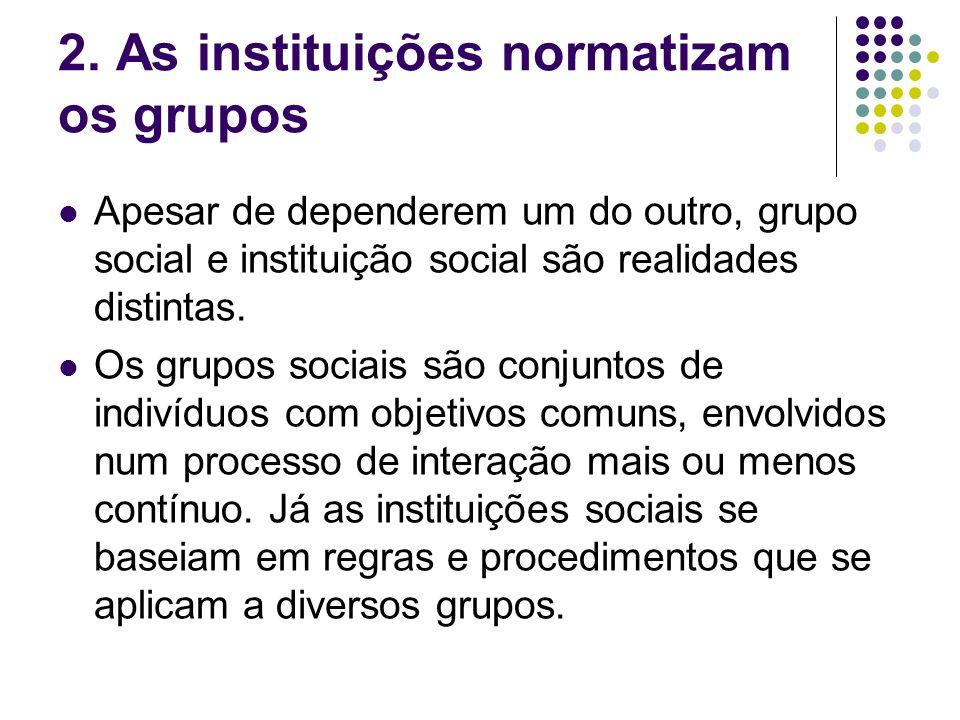 2. As instituições normatizam os grupos Apesar de dependerem um do outro, grupo social e instituição social são realidades distintas. Os grupos sociai