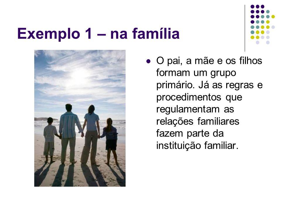 Exemplo 1 – na família O pai, a mãe e os filhos formam um grupo primário. Já as regras e procedimentos que regulamentam as relações familiares fazem p