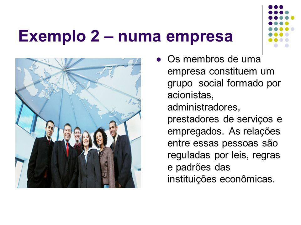 Exemplo 2 – numa empresa Os membros de uma empresa constituem um grupo social formado por acionistas, administradores, prestadores de serviços e empre