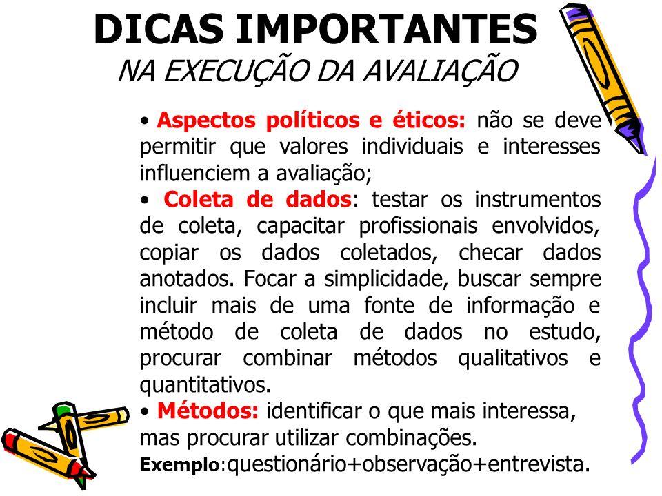 Aspectos políticos e éticos: não se deve permitir que valores individuais e interesses influenciem a avaliação; Coleta de dados: testar os instrumento