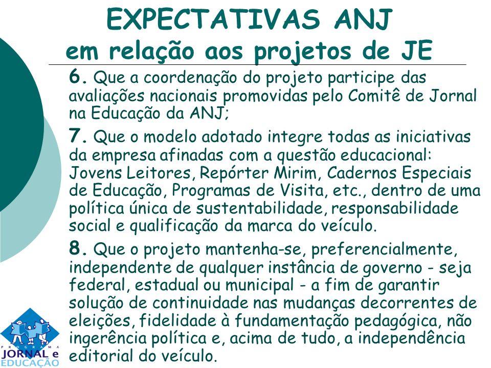 EXPECTATIVAS ANJ em relação aos projetos de JE 6.