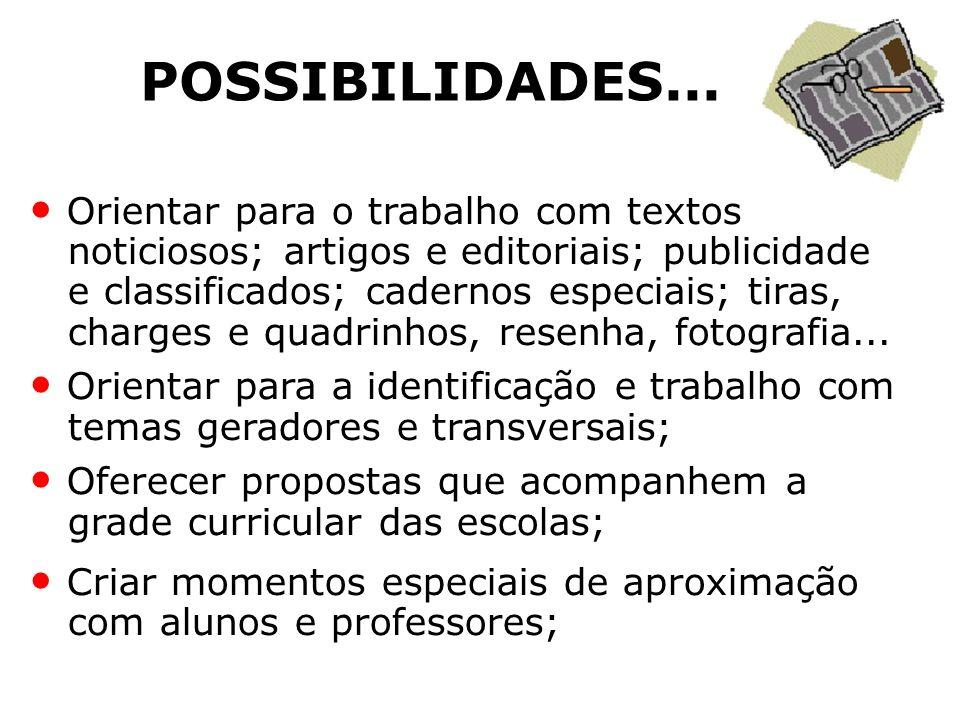 POSSIBILIDADES... Orientar para o trabalho com textos noticiosos; artigos e editoriais; publicidade e classificados; cadernos especiais; tiras, charge