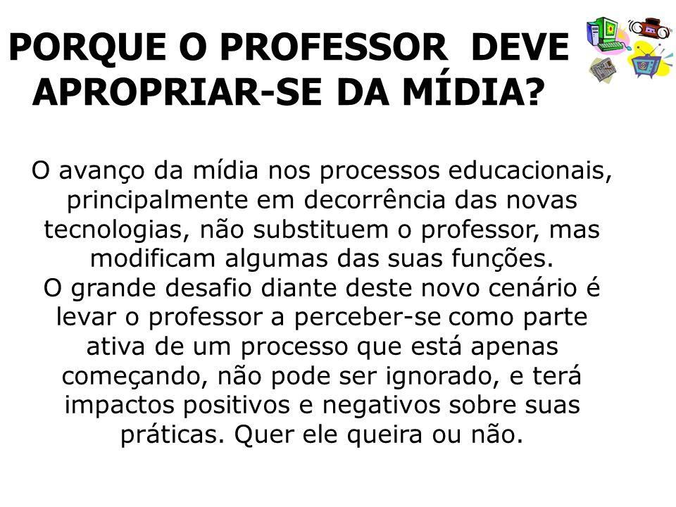 O avanço da mídia nos processos educacionais, principalmente em decorrência das novas tecnologias, não substituem o professor, mas modificam algumas d