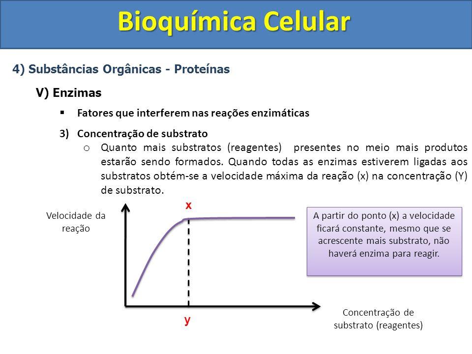 Bioquímica Celular 4) Substâncias Orgânicas - Proteínas V) Enzimas Fatores que interferem nas reações enzimáticas 3)Concentração de substrato o Quanto