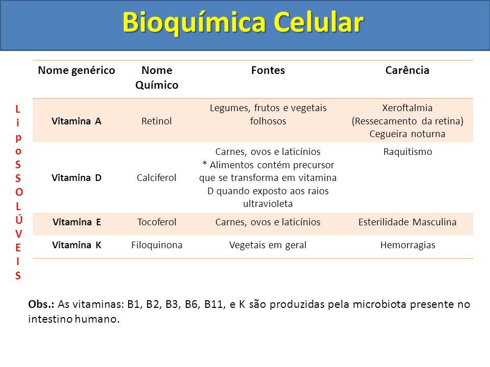 Bioquímica Celular Nome genéricoNome Químico FontesCarência Vitamina ARetinol Legumes, frutos e vegetais folhosos Xeroftalmia (Ressecamento da retina)