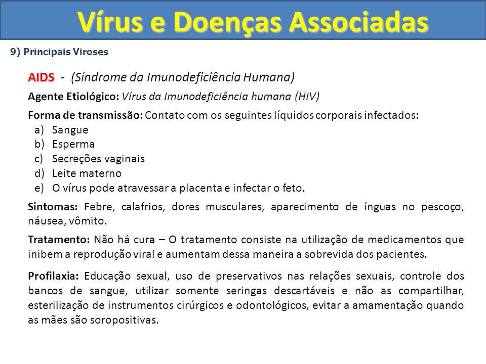 Vírus e Doenças Associadas 9) Principais Viroses AIDS AIDS - (Síndrome da Imunodeficiência Humana) Agente Etiológico: Vírus da Imunodeficiência humana (HIV) Forma de transmissão: Contato com os seguintes líquidos corporais infectados: a)Sangue b)Esperma c)Secreções vaginais d)Leite materno e)O vírus pode atravessar a placenta e infectar o feto.