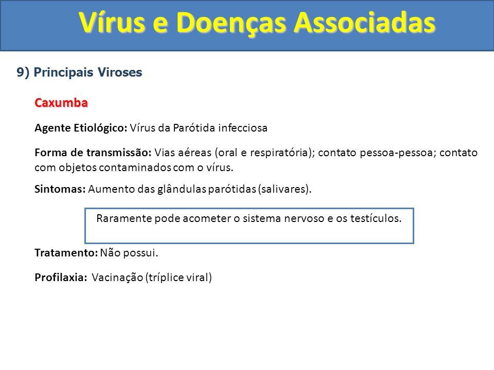 Vírus e Doenças Associadas 9) Principais VirosesCaxumba Agente Etiológico: Vírus da Parótida infecciosa Forma de transmissão: Vias aéreas (oral e respiratória); contato pessoa-pessoa; contato com objetos contaminados com o vírus.