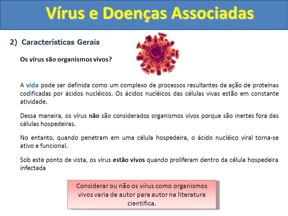 Vírus e Doenças Associadas 2) Características Gerais Os vírus são organismos vivos? A vida pode ser definida como um complexo de processos resultantes