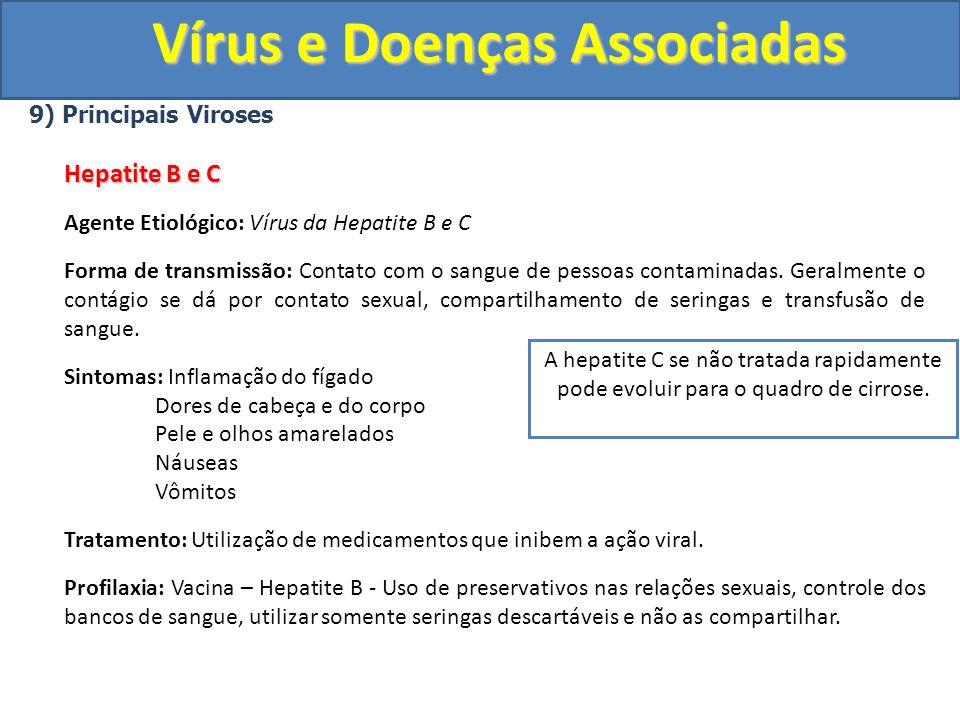 Vírus e Doenças Associadas 9) Principais Viroses Hepatite B e C Agente Etiológico: Vírus da Hepatite B e C Forma de transmissão: Contato com o sangue de pessoas contaminadas.
