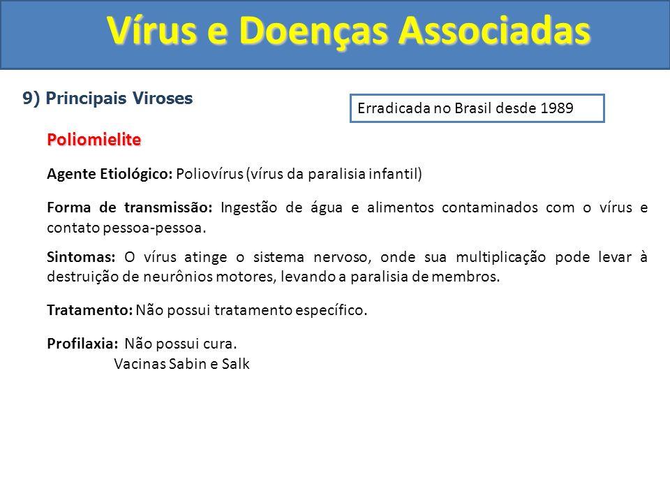 Vírus e Doenças Associadas 9) Principais VirosesPoliomielite Agente Etiológico: Poliovírus (vírus da paralisia infantil) Forma de transmissão: Ingestão de água e alimentos contaminados com o vírus e contato pessoa-pessoa.